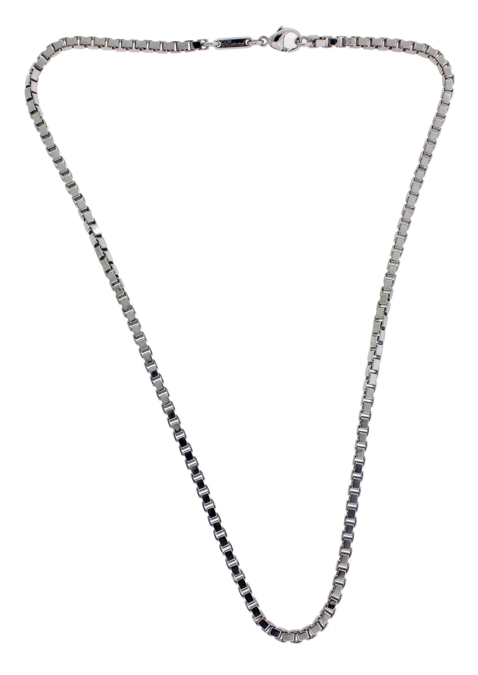 Chopard 2 9mm Box Chain Necklace In 18k White Gold 16 5